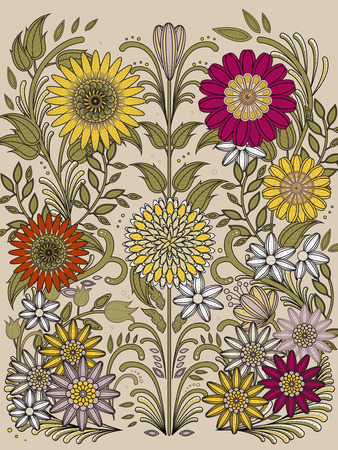relaxation: retro floral coloring page in exquisite line