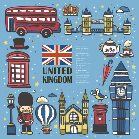 lovely United Kingdom travel impression collection in hand drawn style