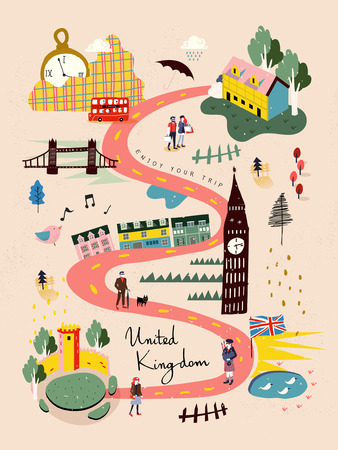 adorable United Kingdom travel map in hand drawn style Ilustração