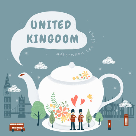 afternoon: lovely United Kingdom impression - afternoon tea culture Illustration