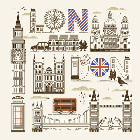 retro London attractions collection in thin line style