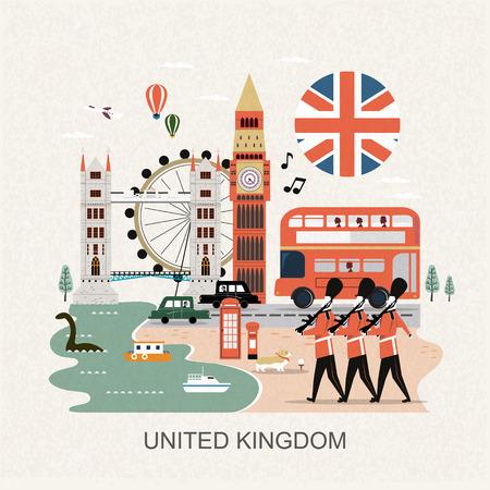 przyciągające wzrok Wielka Brytania koncepcja podróży w stylu płaski