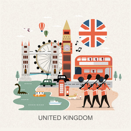eye-catching United Kingdom travel concept design in flat style