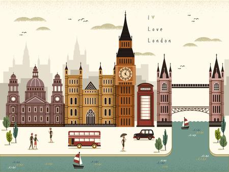 attrayant Londres paysage Voyage illustration dans le style plat Vecteurs