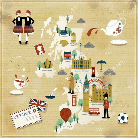 eden: lovely United Kingdom travel map design with attractions