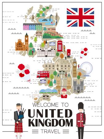 관광 명소와 함께 사랑스러운 영국 여행지도 벡터 (일러스트)