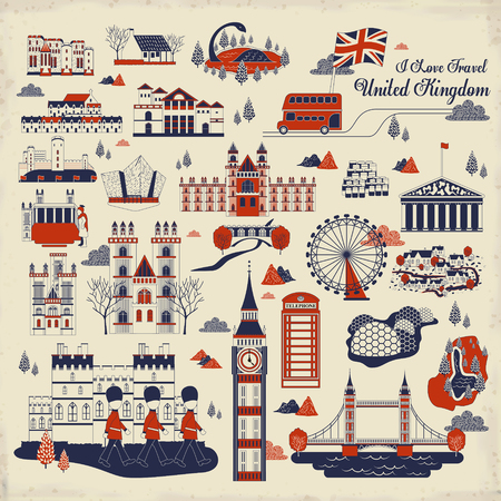lovely United Kingdom impression collection in flat style