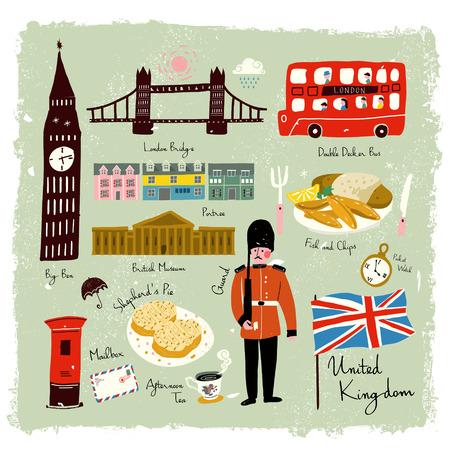 손으로 그린 사랑스러운 영국 여행 인상 컬렉션