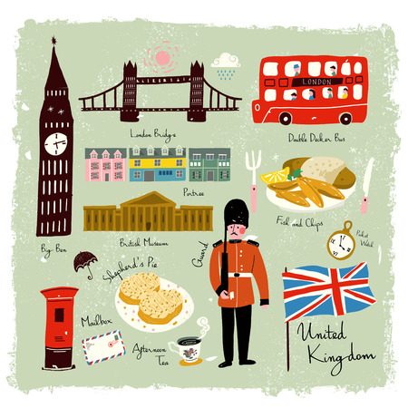dibujado colección de impresión de los viajes preciosa mano Reino Unido