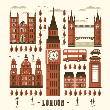 telephone booth: elegant London attractions collection in flat style