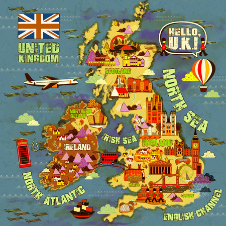uk map: lovely United Kingdom travel map with attractions icon Illustration