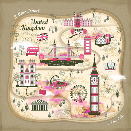 lovely United Kingdom travel concept illustration in flat style