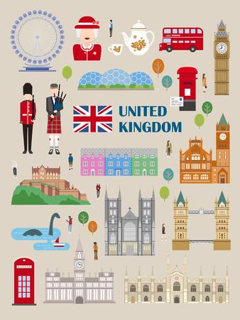 collection Voyage Royaume-Uni exquis dans le style plat
