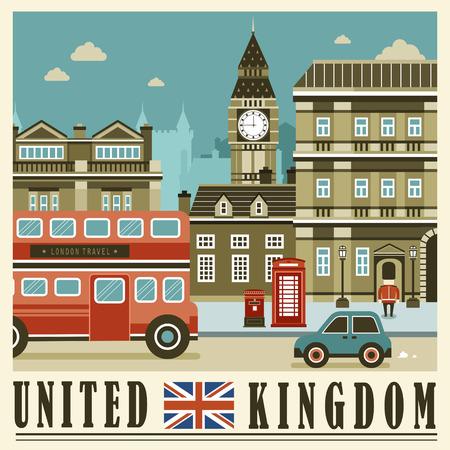 best ad: elegant United Kingdom street scene in flat style