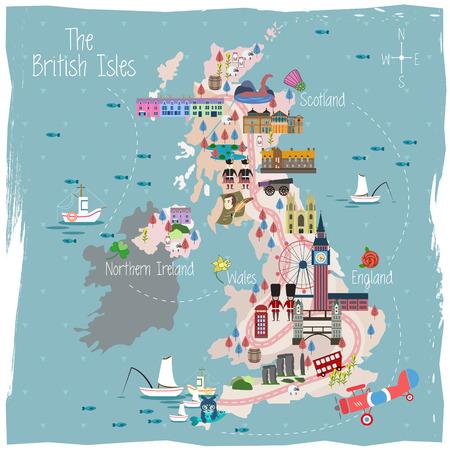 diseño precioso mapa de Reino Unido con atracciones
