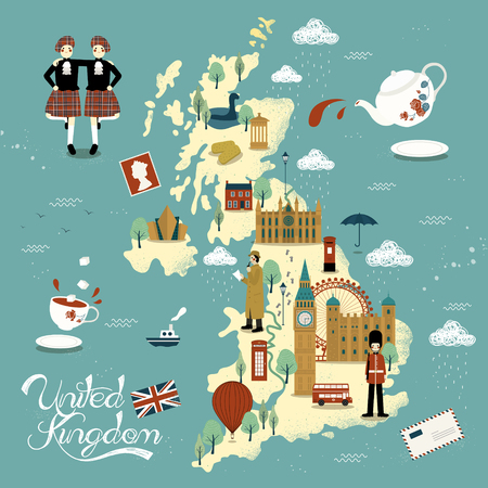 titanic: lovely United Kingdom travel map design with attractions