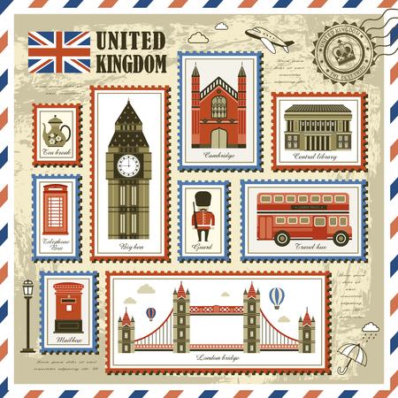 exquisita colección de sellos de viaje de Reino Unido