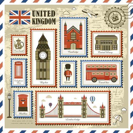 stamp collection: exquisite United Kingdom travel impression stamp collection Illustration