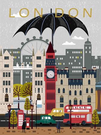 eye-catching United Kingdom travel poster design in flat style 版權商用圖片 - 52654813