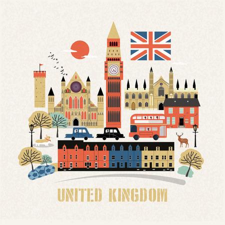 플랫 스타일의 눈길을 끄는 영국 여행 컨셉 디자인 벡터 (일러스트)