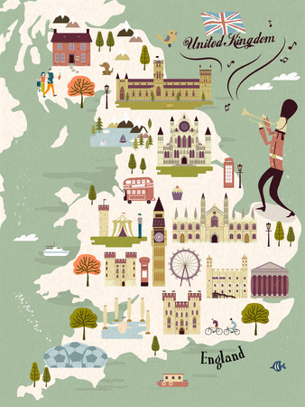 titanic: adorable United Kingdom travel map with attractions