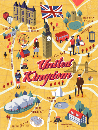lovely United Kingdom walking map with attractions Vectores