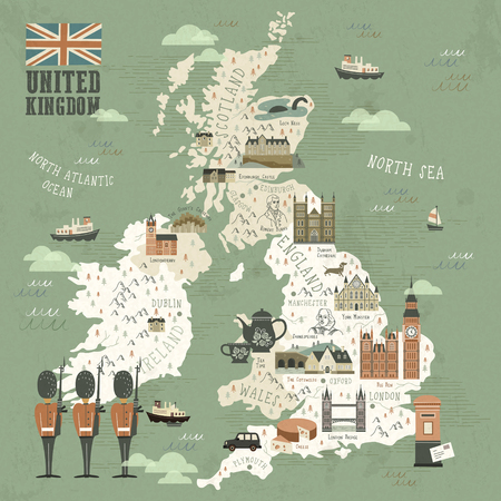 elegant United Kingdom attractions travel map in flat style Vectores