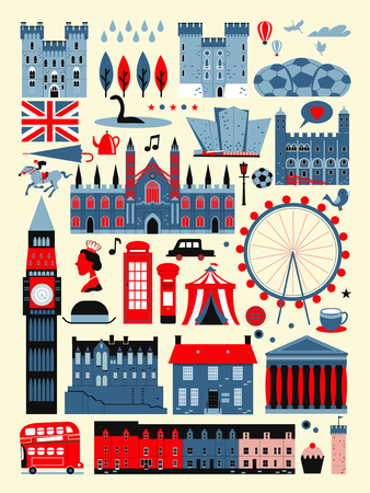 wales: adorable United Kingdom attractions collection in flat design