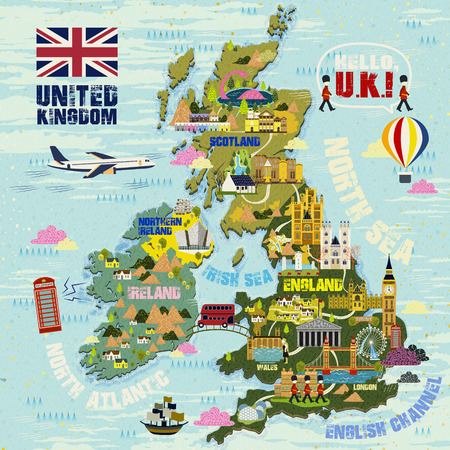 lovely United Kingdom travel map with attractions icon Illustration