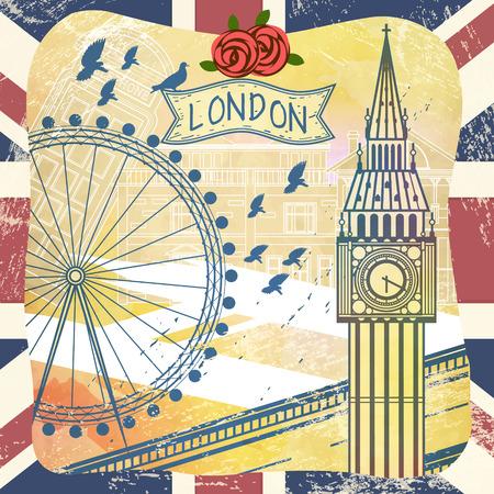 romantic United Kingdom travel impression design with attractions 向量圖像