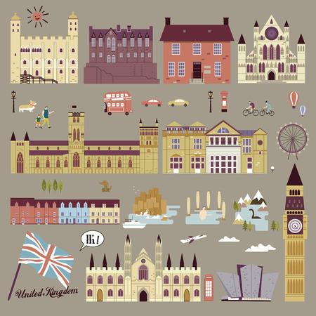 フラットなデザインの愛らしいイギリス観光スポット コレクション  イラスト・ベクター素材