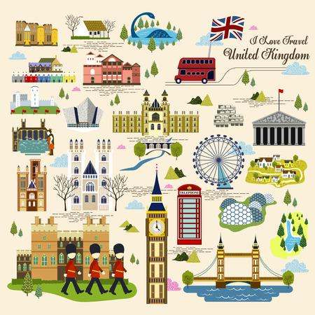 schönen Eindruck Sammlung Großbritannien in flachen Stil Vektorgrafik