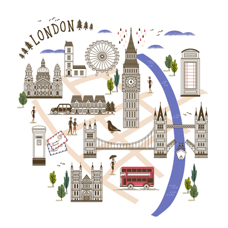 westminster abbey: lovely London walking map in flat style