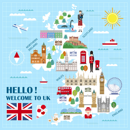 52655196 lovely united kingdom travel map with attractions