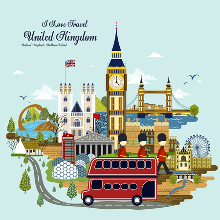 플랫 스타일의 사랑스러운 영국 여행 개념 그림