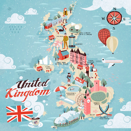 attractions: attractive United Kingdom travel map with attractions