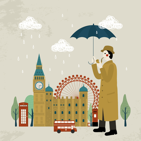 impression: lovely United Kingdom impression design - detective and attractions Illustration