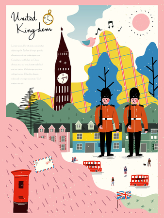 adorable United Kingdom travel impression poster in hand drawn style