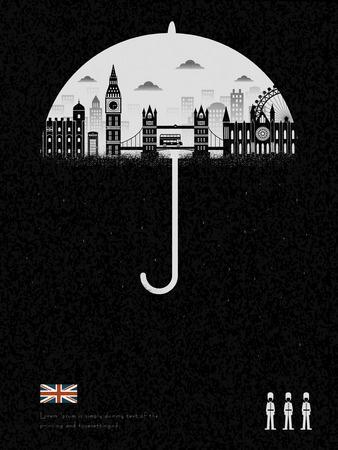 elegante Reino Unido impresión - lloviendo todo el día