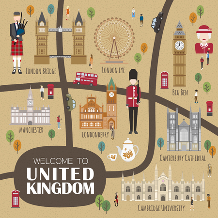 adorable United Kingdom walking map design with attractions