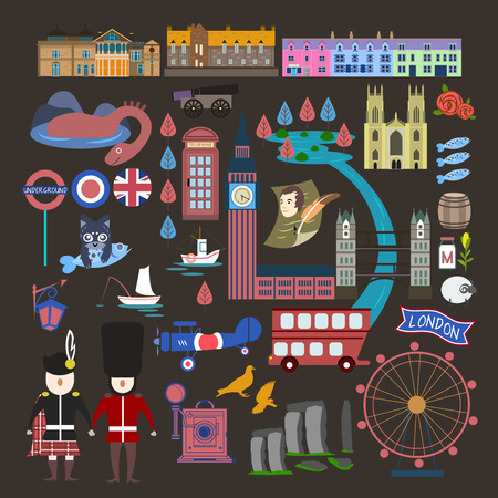 impression: lovely United Kingdom travel impression collection with attractions Illustration