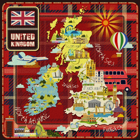 westminster abbey: United Kingdom travel map with attractions icon over scottish pattern