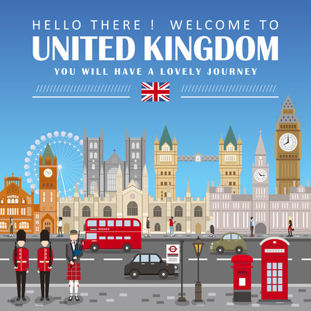 eye-catching United Kingdom travel poster design in flat style