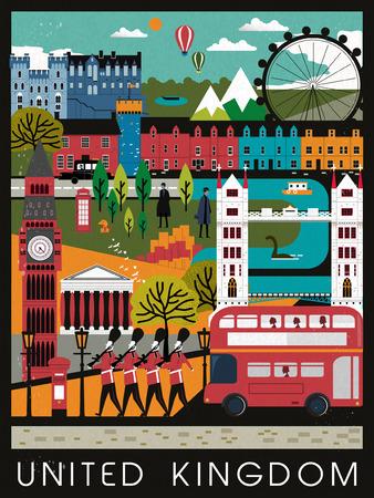 플랫 스타일로 눈길을 끄는 영국 여행 포스터 디자인