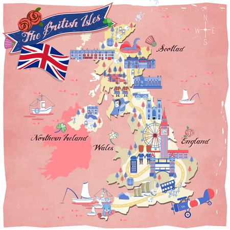 british isles: lovely United Kingdom travel map design with attractions