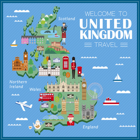 lovely United Kingdom travel map with attractions Illustration