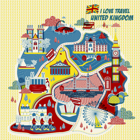 eden: lovely United Kingdom attractions map in printing style