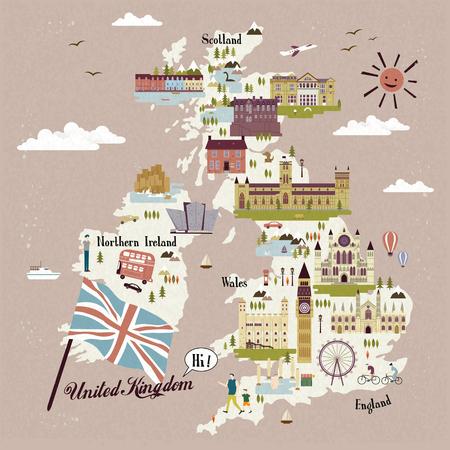 adorable mapa de Reino Unido con atracciones Ilustración de vector