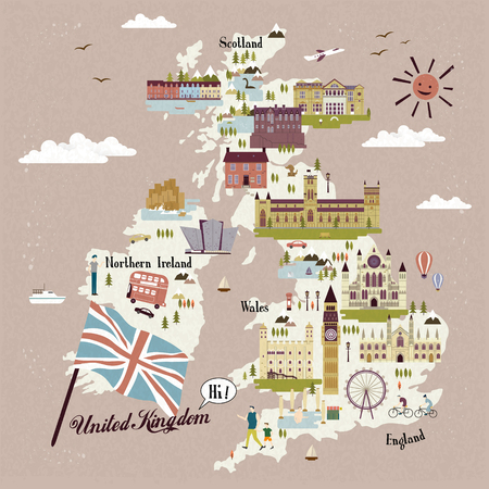 minster: adorable United Kingdom travel map with attractions