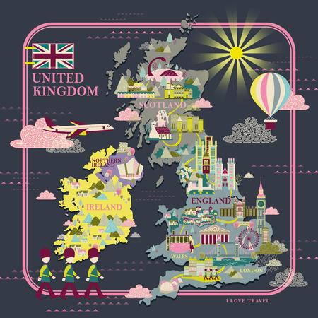 mapa de Reino Unido preciosa, con atracciones icono